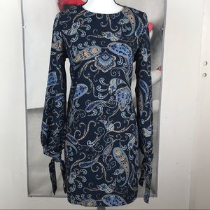 New Long Sleeve Navy Blue Paisley Dress